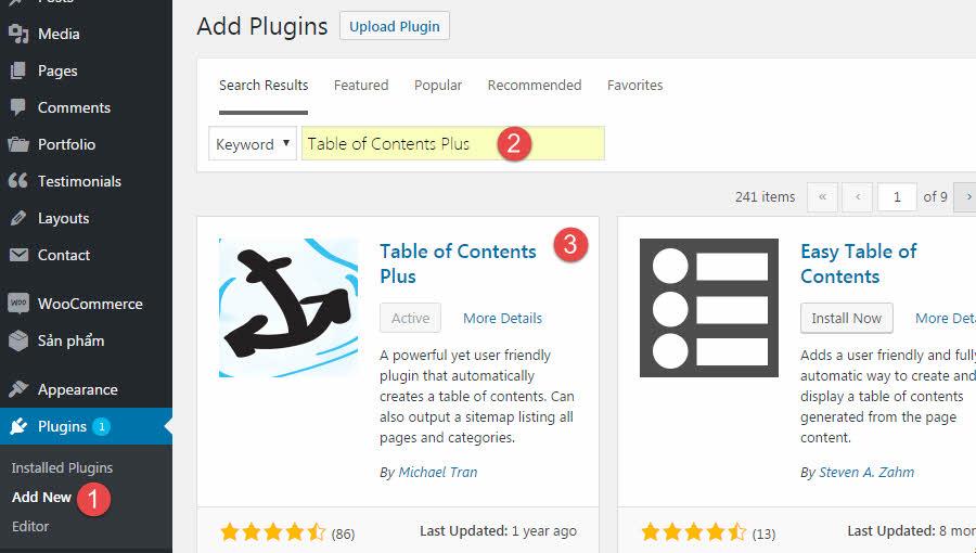 Cài đặt pluginTable of Contents Plus