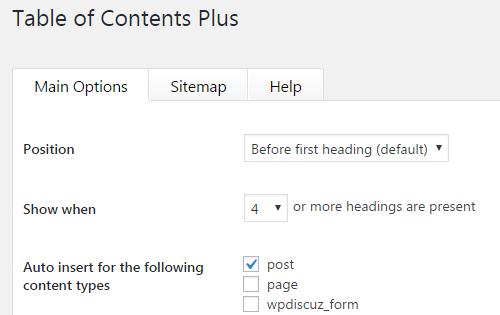 Cách cấu hình pluginTable of Contents Plus